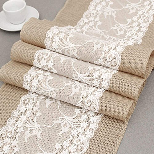 Joe&Lory 12x72 Inch Burlap and Lace Table Runner Country Rustic Barn Farmhouse Kitchen Decor