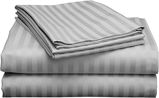 Amazon Com Rajlinen Luxury 600 Thread Count Sateen Rv Camper Made Specifically For Campers Rvs Travel Trailers Motorhome Mattresses Light Grey Stripe Rv Short Queen 16 Deep Home Kitchen