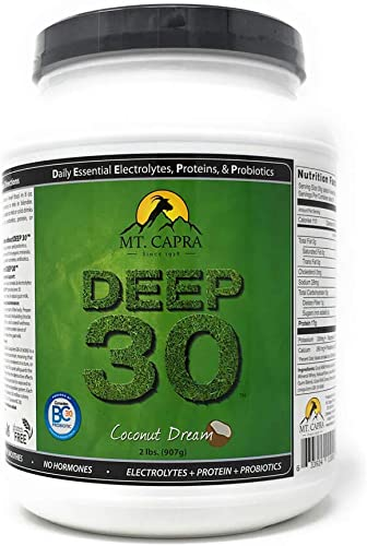 MT. CAPRA Since 1928 DEEP-30 Meal Replacement Shake, Goat Protein Powder with Grass Fed Whey Protein and Casein Protein, Minerals and BC-30 Probiotics, Coconut Dream Flavor – 2 Lbs