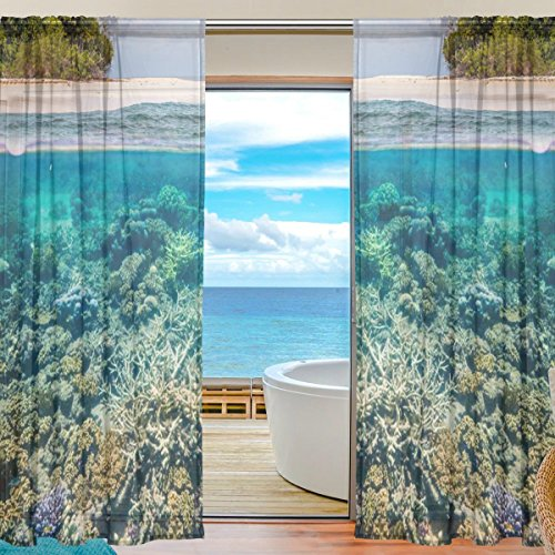 Floral Big Sea Turtle Semi Sheer Curtains Window Voile Drapes Panels Treatment-55x84in for Living Room Bedroom Kids Room, 2 Pieces