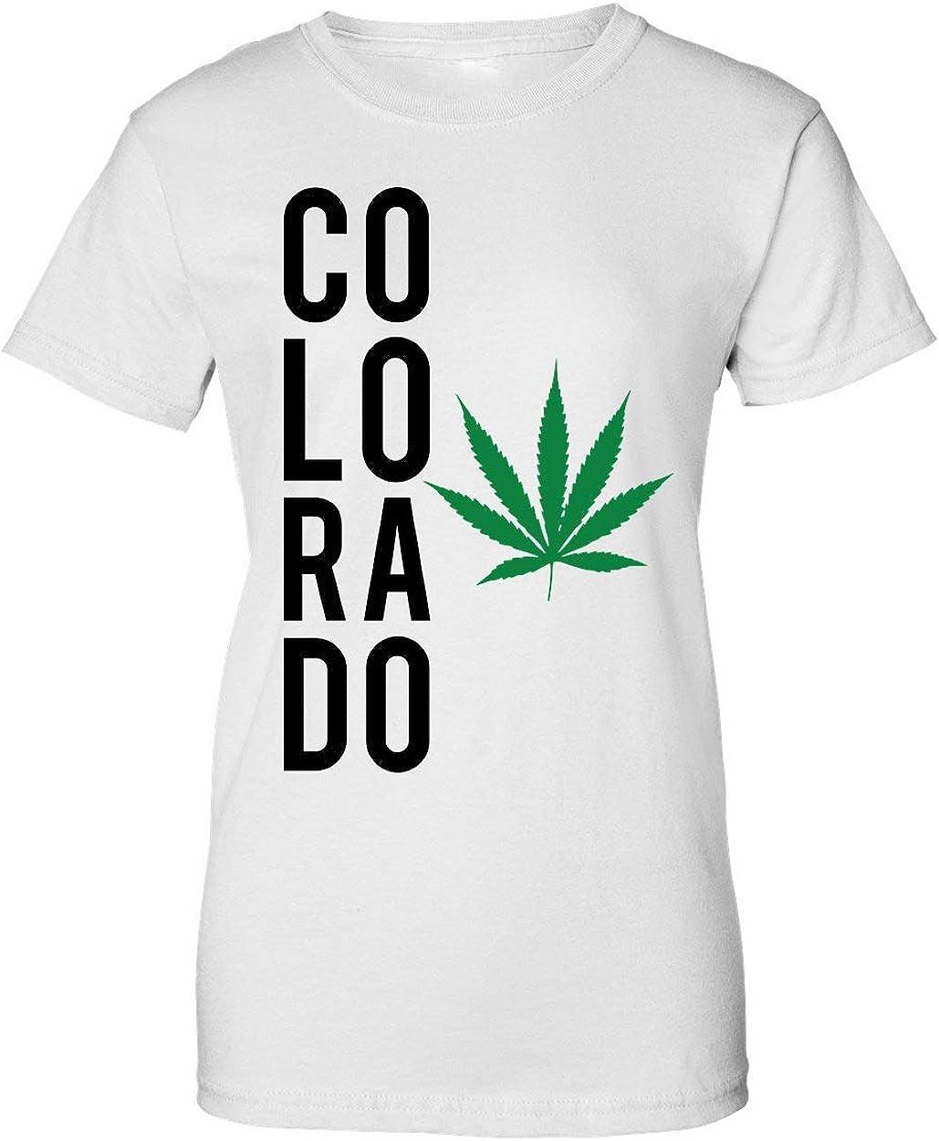 Brenos Design Colorado Flag Marijuana State Cannabis Weed Leaf 420 Camiseta de Mujer: Amazon.es: Ropa y accesorios