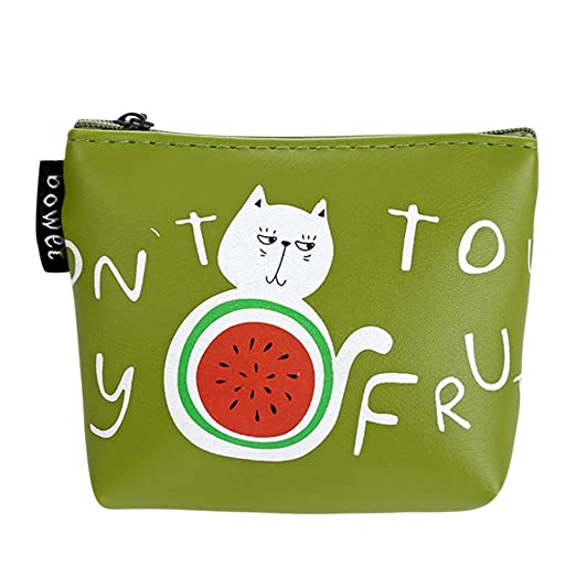 b112123d31b7 Women Coin Purse Girls Print Flower Snacks Wallet Bag Change Pouch Key  Holder (Green)