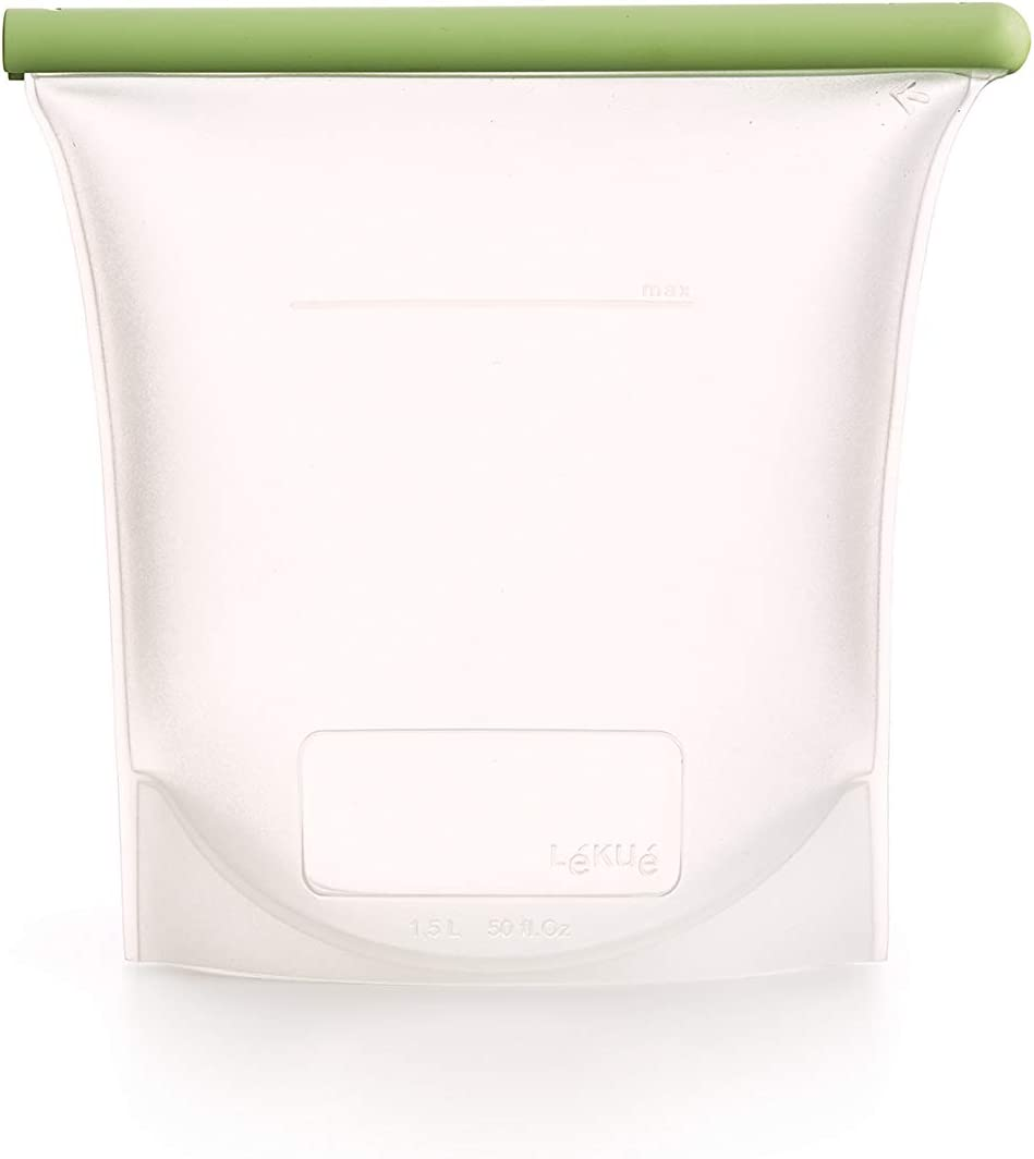 Lekue, 1500ml/6.35cups Reusable Silicone Bags for Airtight Food Storage and Sous Vide Cooking, 50 fl oz/ 6.25 Cups, Frost