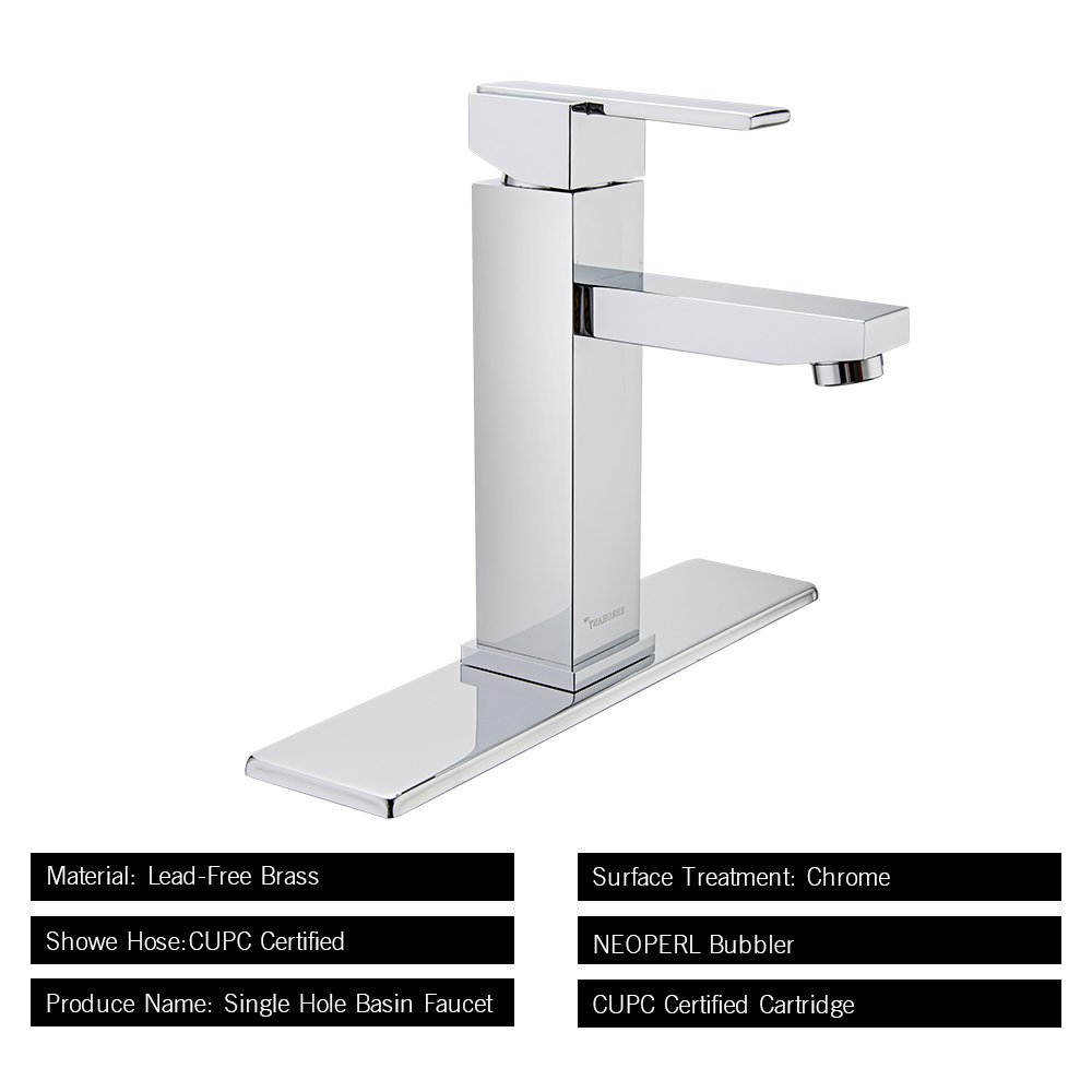 Bf65001cp Rbrohant Single Handle Bathroom Faucet For Single Hole Or Three Hole Brass Basin Mixer Taps With Cover Plate Kaiping Jiekang Sanitary Ware Technology Co Polished Chrome Ltd