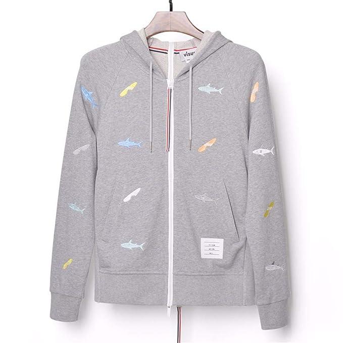 Lxj Sweater 3D-Pullover 3D tiburón Bordado Delantero y Trasero Cremallera con Capucha suéter Tendencia Hombres y Mujeres Amantes otoño Moda Abrigo: ...