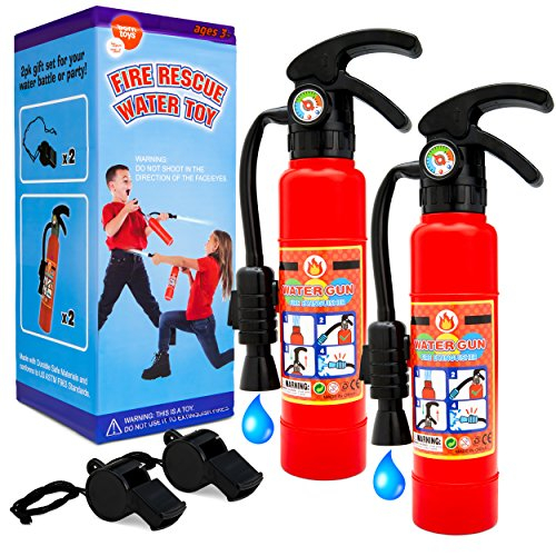 Toy fire extinguishers with Whistles 2 Pack.Shoots Real Water Great for Fireman Toys,Fireman Costume, Bath,Summer, Outdoor and Indoor Play,.]()