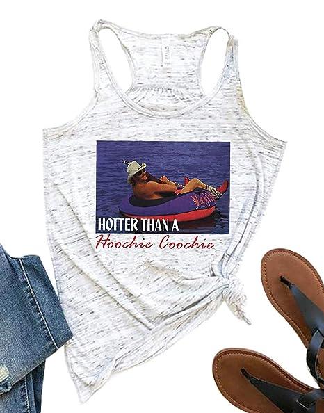 e946fb62e428a Amazon.com: Enmeng Womens Hotter Than a Hoochie Coochie Tank Tops Summer  Tanks Country Music Shirt Tops: Clothing