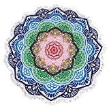 lei xiao jie Same Pattern Different Quality 2018 New Developed Material Thick Round Beach Towel Round Beach Blanket 100% Microfiber Terry Quality Tassels 62 Inches Lotus Flower Sharp Mandala Style