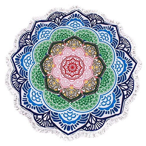 lei xiao jie 2019 New Developed Thick Round Beach Towel Round Blanket 100% Microfiber Terry Cloth Quality with Tassels 62 Inches Lotus Flower Sharp Mandala Style Great Gift Idea ()