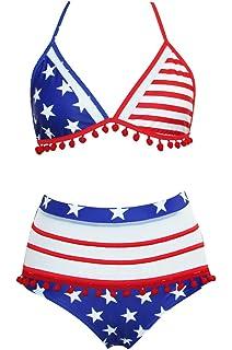 c8cf347095 Womens USA Flag Bikini July 4th Patriotic American Flag Swimsuit for Women