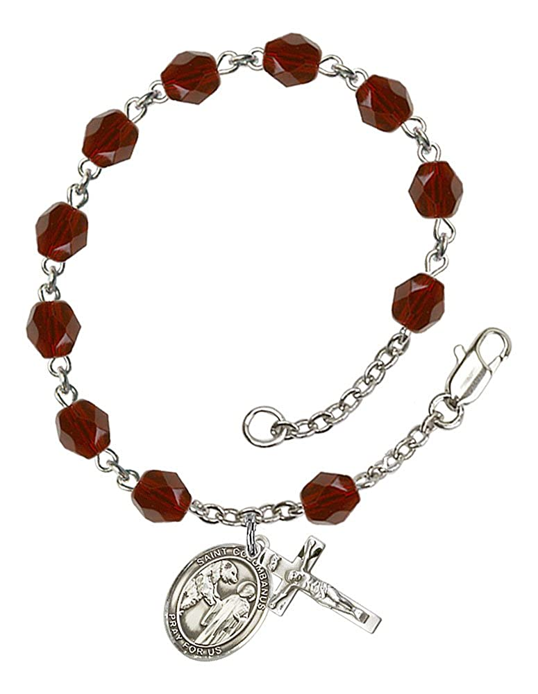 The Crucifix measures 5//8 x 1//4 The charm features a St Patron Saint Motorcyclists Columbanus medal Silver Plate Rosary Bracelet features 6mm Garnet Fire Polished beads