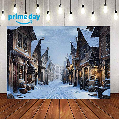 LUCKSTY Snow Street Magic House Backdrops for Photography 9x6FT Harry Alley Potter Movies Photo Backgrounds Party Wall Paper Room Mural Props LUZZ484