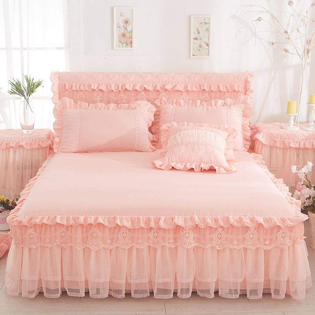 QXJR Bed Skirts,Bed Decoration,Princess Lace Bed Skirts Bed Cover lace Bed Covers Mattress Solid Color Bedding Bed Wrap-Jade-120Cmx200Cm by QXJR