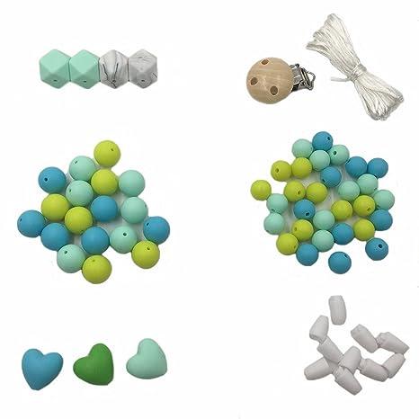 Coskiss Accesorios para bebés Chupete hecho a mano Clip Cuentas de bricolaje Conjunto Joyería para la dentición Collar de lactancia Cuentas de ...