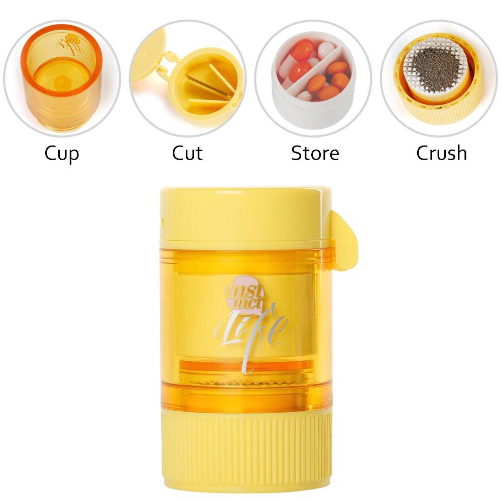 Bidear Pill Crusher Grinder Splitter Functional 3 in 1 Pill Cutter with Travel Pill Case (Yellow)