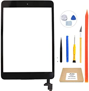 JPUNG Touch Screen Replacement for iPad Mini 3 Digitizer (A1599 A1600), Black, Complete Repair Tools Kit, Camera Holder, Pre-Installed Adhesive Stickers - 365 Days Warr