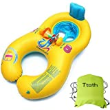 Ttath Inflable Madre bebé Infante Niño Piscina asiento del flotador del barco Anillo Raft Presidente piscina de juguete