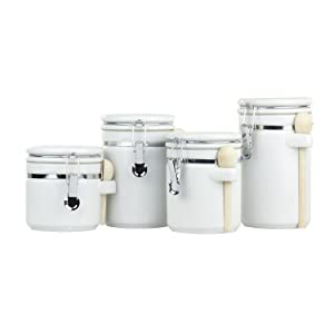 Home Basics 4 Piece Ceramic Canister Set W/Spoon (White)