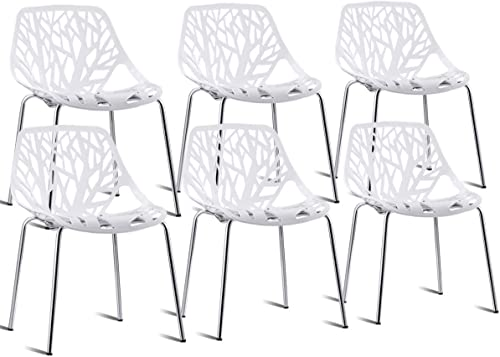 Casart 6 PCS Dining Chair Birds Nest Modern Stackable Plastic Hollow-Out Geometric Style Furniture Outdoor Indoor Dining Side Chair