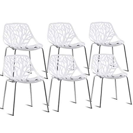 Giantex Set of 6 Modern Dining Chair Birds Nest Modern Stackable Plastic Hollow-Out Geometric Style Furniture Outdoor Indoor Dining Side Chair White
