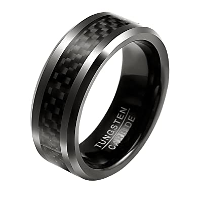 57c7216c320a Jovivi Custom Tungsten Rings - Personalised Mens 8mm Black Carbon Fiber  Inlay Tungsten Carbide Ring Wedding Band Polished Finish Edges Comfort Fit   ...