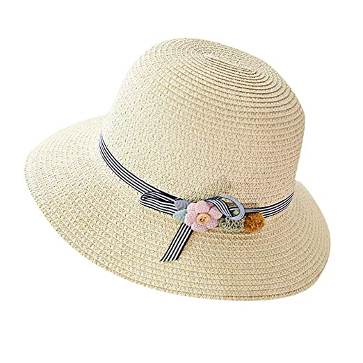 8d82d5b34 HENWERD Straw Sun Hats for Women Wide Brim Summer Beach Hat Travel ...