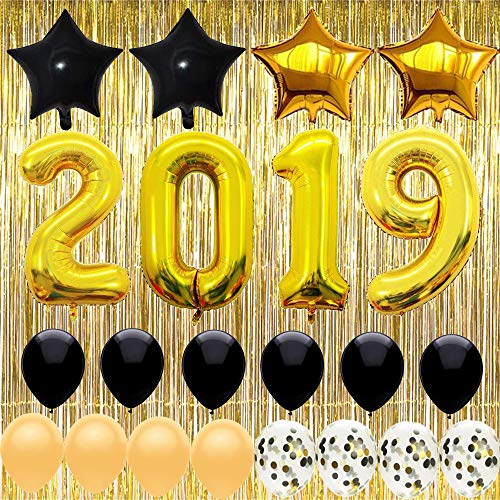 (2019 Balloon,40 Inch,Pack of 23,Graduations Backdrop Party Supplies 2019,New Years Party)