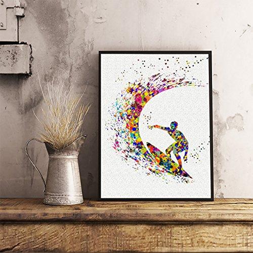 surfer-watercolor-posters-art-prints-surfing-wall-decor-artworks-wall-art-dining-room-art-wall-hangi