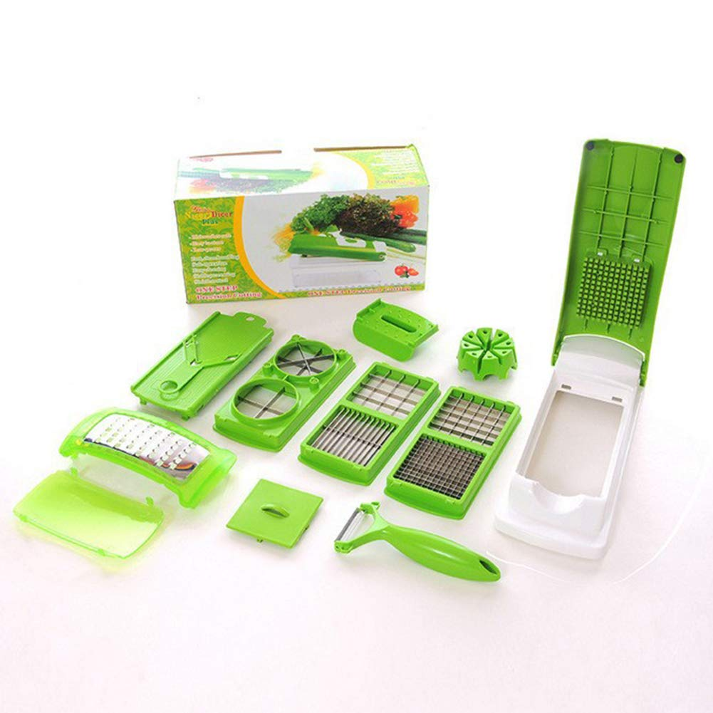 Guoainn Kitchen Utensil Set 15Pcs/Set Multifunctional Fruit Vegetable Shredder Slice Chopper Kitchen Utensil Green
