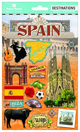 Paper House Productions Travel Spain 2D Stickers, - Spain Scrapbooking