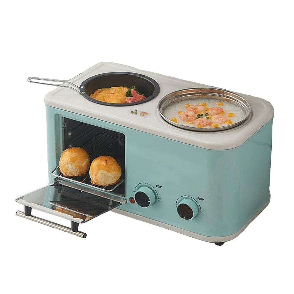LQRYJDZ Mini Breakfast Machine,3-in-1 Family Size Breakfast Station, Toaster Oven Multifunction Breakfast Center,Toaster Oven, Griddle &Cooking Pot,5 liters (Color : Light Blue) by LQRYJDZ