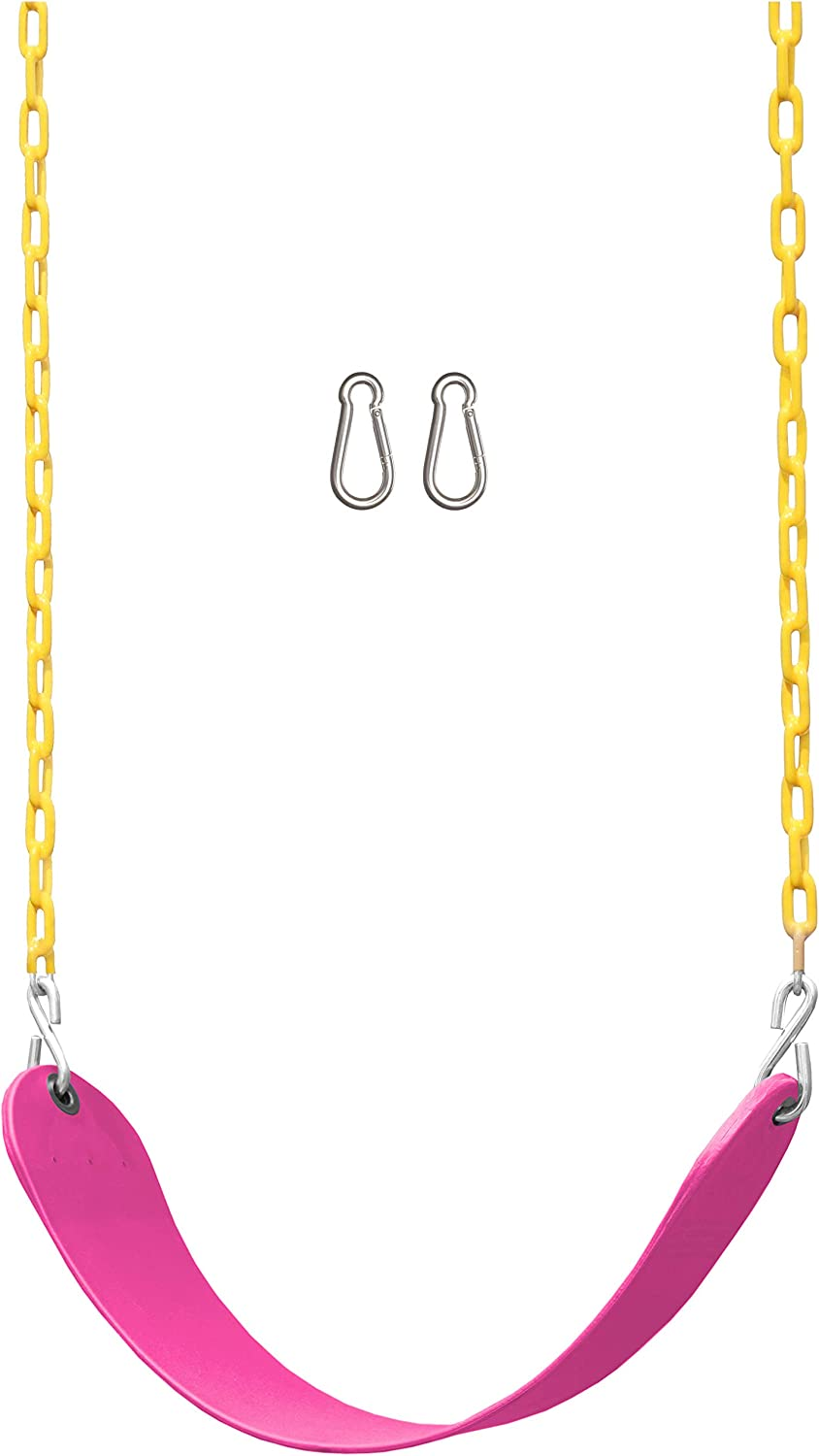 Pink Playground Swing Set Accessories Replacement with Snap Hooks Jungle Gym Kingdom Swing Seat Heavy Duty 66 Chain Plastic Coated