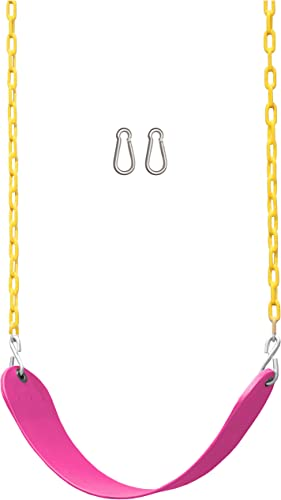 Jungle Gym Kingdom Swing Seat Heavy Duty 66 Chain Plastic Coated – Playground Swing Set Accessories Replacement with Snap Hooks Pink
