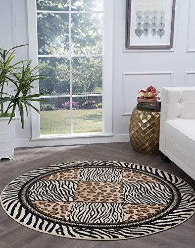 Macie Transitional Animal Multi-Color Round Area Rug, 5