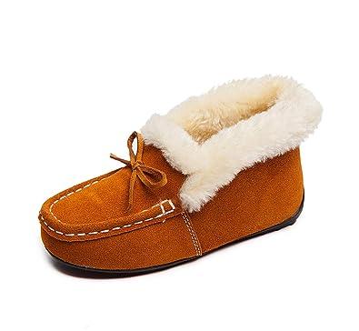 lovejin Niño Niña Mocasines Invierno Caliente Forro de Felpa Gamuza Zapatillas Exterior Impermeables Antideslizantes Zapatos: Amazon.es: Zapatos y ...