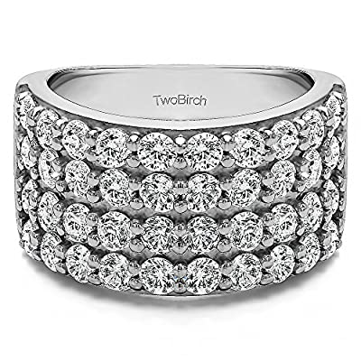 2 ct. Charles Colvard Created Moissanite 2CT Wide 4 Row Double Shared Prong Wedding Ring in Sterling Silver (2 ct. twt.) (Size 3 to 15 in 1/4 Size Intervals)
