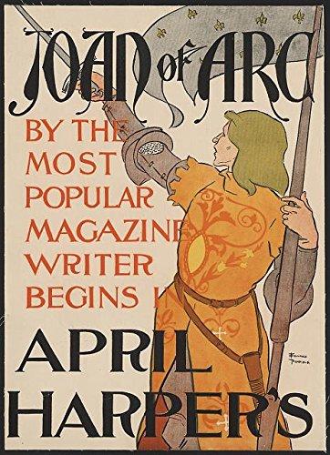 Saint Sword (HistoricalFindings Photo: Joan of Arc,Advertisement,April Harper's,1895,Saint,Sword,Flag,Edward Penfield)