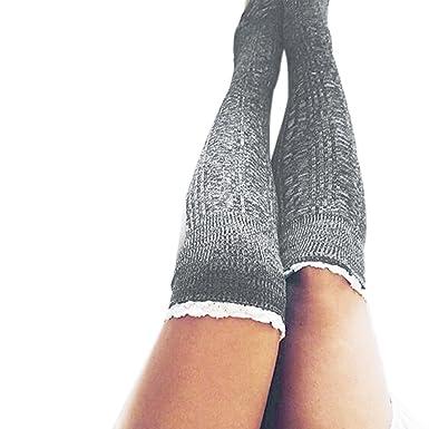 DOGZI Mujer Señoras de encaje de punto calcetines de rodilla medias mujer Calcetines hasta el muslo Raya Chicas Calcetines de fútbol Blanco negro ...