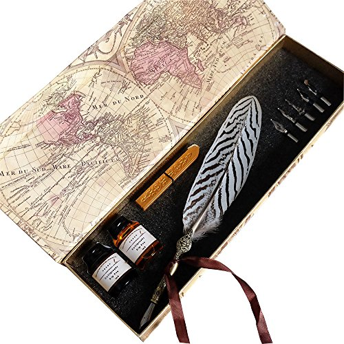 GC-Writting-Quill-Feather-Pen-2-Bottle-Inks-100-Hand-Craft-Copper-Pen-Stem--Antique-True-Feather-Metal-Nibbed-Calligraphy-Pen-Dip-Pen-L16112-For-Harry-Potter-Fans