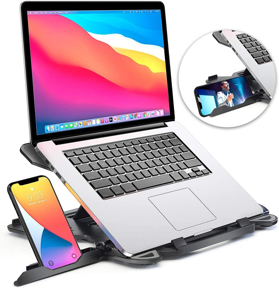 Laptop Stand for desk, Adjustable Computer Stand for All Laptops and MacBook Pro, Air 13 15 17 inches, Portable Laptop Riser Notebook Stand, Ergonomic Laptop Holder, Small Computer Riser Laptop Stands