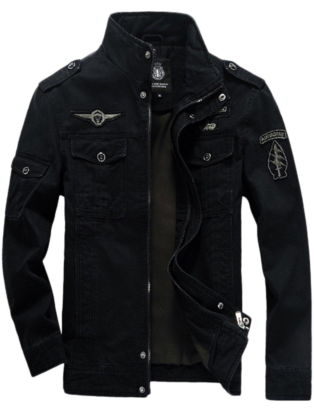Springrain Men's Casual Slim Stand Collar Tooling Cotton Jackets (Medium, Black) by Springrain