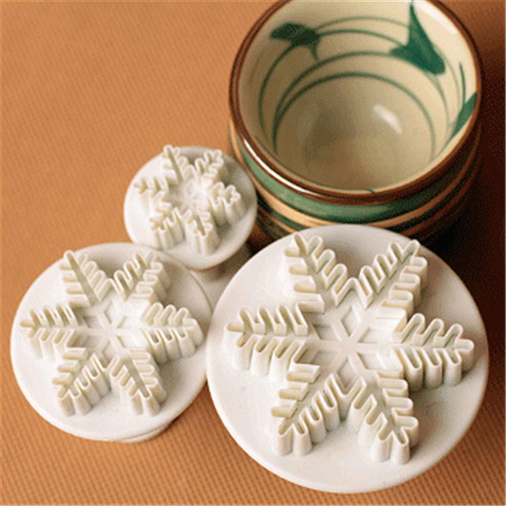 Ogquaton Herramienta para hornear Herramienta de corte del /émbolo Copo de nieve Fondant Cake Mold Cake Cake Cute Snow Tipo de cristal 3 Unidades//set