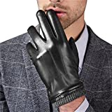 Harrms Best Touchscreen Nappa Genuine Leather Gloves with Knittted Cuff for men's Texting Driving Winter (S-8.1'', Black)