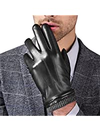 Harrms Best Touchscreen Nappa Genuine Leather Gloves for men's Texting Driving Winter Cold Weather Gloves Black (Knitted Cuff) S