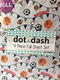Dot and Dash Basketball Soccer Football Baseball Sport Sheets with SCORE! on Grey - 4 Piece Sports Sheet Set