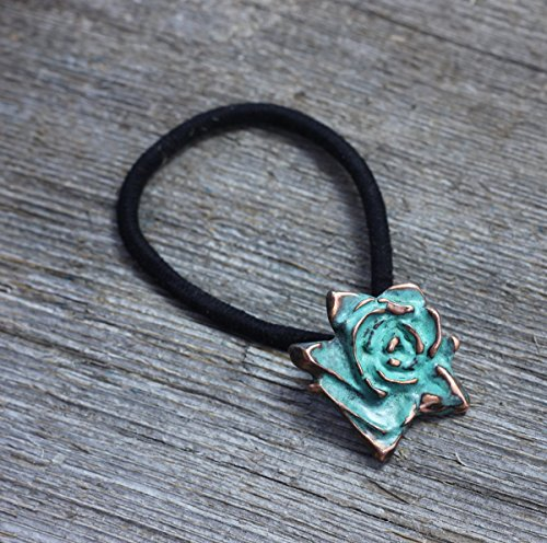 (Rose pendant ponytail hair elastic in copper with blue green patina)