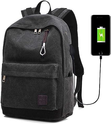 Amazon.com: DXYIZU Mochila de lona para portátil con puerto ...