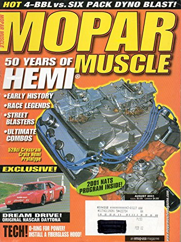 Mopar Muscle August 2001 Magazine 50 YEARS OF HEMI: EARLY HISTORY, RACE LEGENDS, STREET BLASTERS, ULTIMATE COMBOS Exclusive! Dream Drive! Original NASCAR (Racing Fiberglass Hoods)