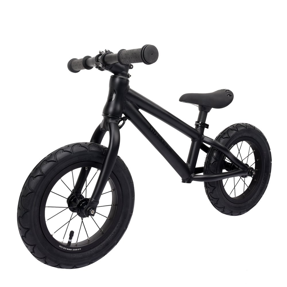 XJD Balance Bike For Kids Ages 3 to 6 Years Lightweight Aluminum Frame No-Pedal Push Bicycle Adjustable Saddle, 12 Air Tires (Black)