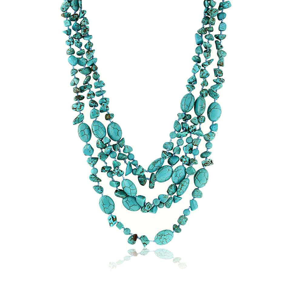 Gem Stone King 20 Inch Stunning 3 Strands Green Simulated Turquoise Necklace with Toggle Clasp by Gem Stone King